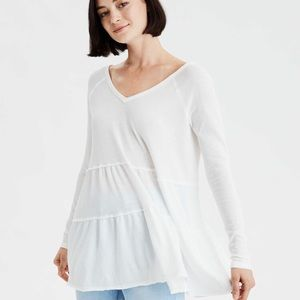 AE TIERED V-NECK TUNIC TOP